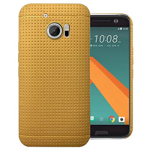 Heartly New Retro Dotted Design Hole Soft TPU Matte Bumper Back Case Cover For HTC 10 / HTC One M10 - Mobile Gold
