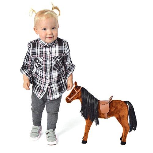 Pink Papaya Plüschpferd 40 cm - Stehpferd Bronco – Spielfigur Kuschel-Pferd mit abnehmbarem Sattel und Zaumzeug, Spielzeug Pferd in Puppen Große zum Spielen Träumen Toys