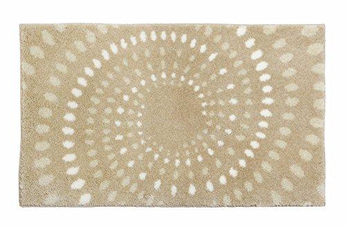 Schöner Wohnen Kollektion Mauritius, Badteppich, Badematte, Badvorleger, Design Kreise - creme, Oeko-Tex 100 zertifiziert, 60 x 60 cm (Weiße Bettwäsche-badewanne)