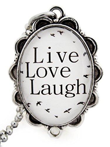 """Miss Lovie - Collana lunga da donna, stile vintage, con ciondolo forma cabochon con scritta in lingua inglese """"Live Love Laugh"""" (Vivi Ama Ridi) in bianco e nero - 25 x 18 mm, in argento"""