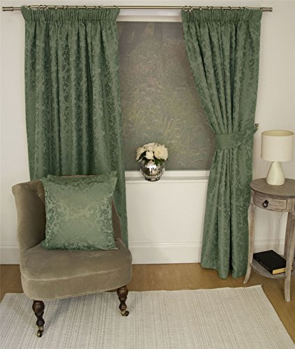 "JACQUARD FLORAL DAMASK GREEN 66X90"" 168X229CM LINED PENCIL PLEAT CURTAINS DRAPES"