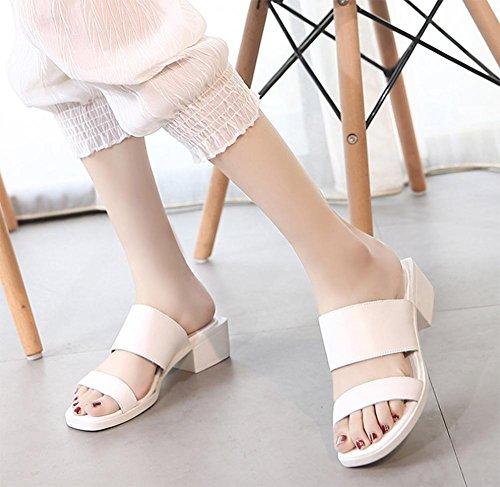 Mme cuir chaussures plates, sandales et pantoufles antidérapantes pantoufles confortables épais avec des étudiants White