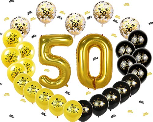 Ohighing 50th Birthday Decorations Luftballons Schwarz Gold Ballons 50 Folienballons - Yoyo Ballon