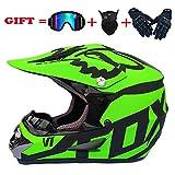 Helmet Motocross Niños Adultos Motocicleta Casco Hombres Set con Gafas Guantes Máscara Cara...