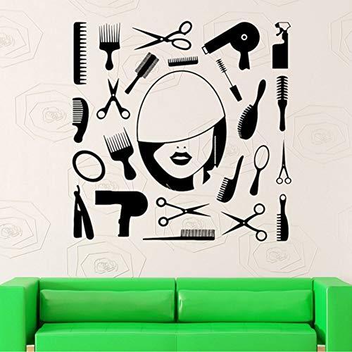 Ganjue Barbershop Vinyle Sticker Coiffeur Salon De Beauté Autocollant Mural Coiffeur Styliste Mur Art Mural Papier Peint Pour Vitrine 56X56cm