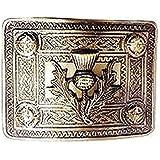 Metallic kilt belt buckle for Men. 4 Demo Thistle work belt buckle. Available in Chrome Finish Color.