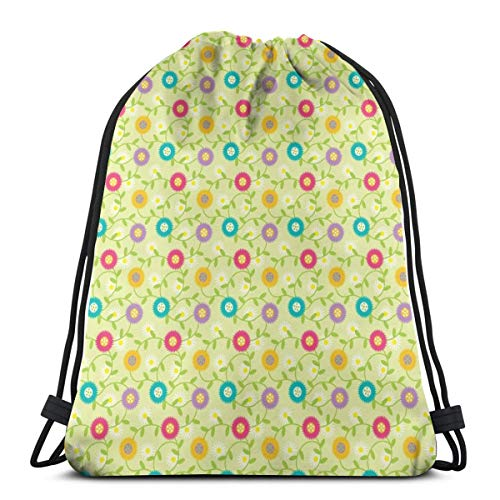 best pillow Cheery Mod Spring Flowers On Celery, Daisies, Retro Botanicals_7220 3D Print Drawstring Backpack Rucksack Shoulder Bags Gym Bag for Adult 16.9