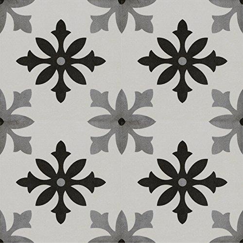 Zementfliesen Optik Gotik Parodi 22,3x22,3cm | Boden-Fliesen | Zement-Fliesen | Dekor | Fliesen-Bordüre | Ideal für den Wohnbereich (auch als Muster erhältlich) (Paket)