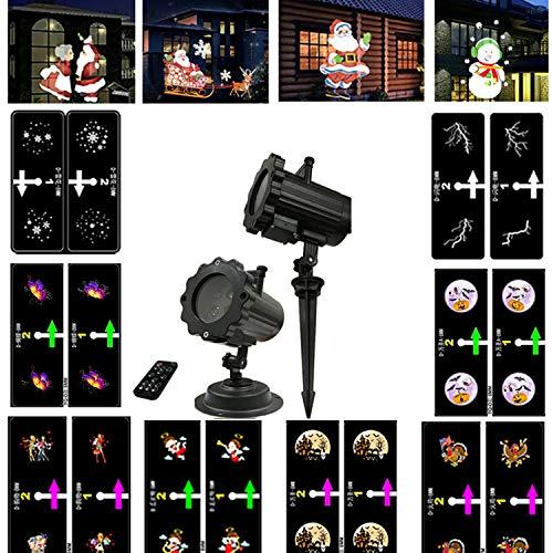 Weihnachten Effektlicht,Führte Belichtete Projektionslampe, 12 Bilder, Projektor, Garten-Dekorations-Licht, Drehbarer Landschaftsscheinwerfer 3D, Feiertags-Dekoration, Garten-Partei, Wasserdicht, Nachtlicht