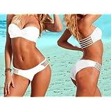 D3bee 2PCS New Sexy Women strapless Twist Bandeau Padded Bra Low Rise Bikini Swimwear White