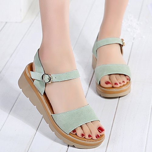 Estate moda donna sandali comodi tacchi alti,40 nero Green