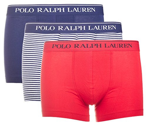 Polo Ralph Lauren Herren Boxershorts 3er Pack Classic Trunk (6 (Gr. Large), Rot/Blau/Gestreift)