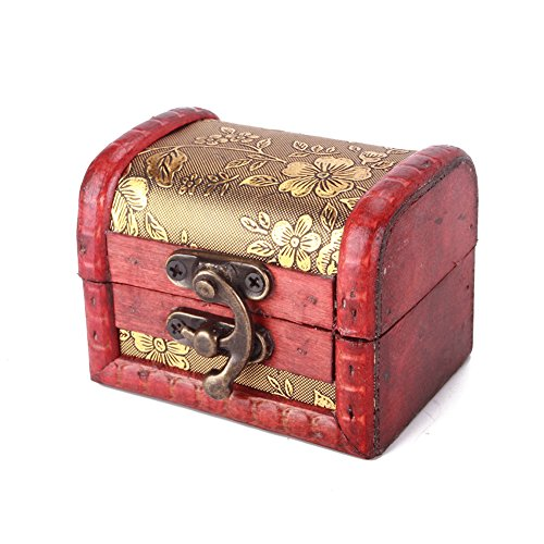 JaneDream Women Vintage Embossed Flower Wooden Jewelry Box Pearl Necklace Bracelet Gift Storage Organizer Case