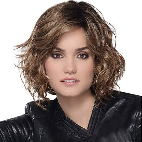 QHJ Perücke Für Damen,Art und Weise synthetische Kurze gelockte Wellen Haar natürliche Haar Perücken weibliche Faser (Braun)