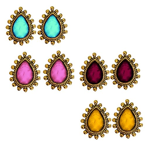Women\'s Fashion Jewellery Holi Special Tear Drop Design Stone Studed Different Color Combo set Earring