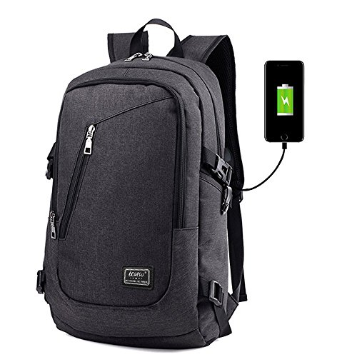 """iCasso Zaino per PC portatile 15,6"""" , Laptop Borsa Backpack leggero Viaggio Scuola anti-furto belt Business Borse multi-funzionale con USB Port , Grigio Nero"""