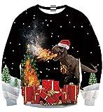Idgreatim Frauen Lustige 3D Gedruckt Katze Crewneck Langarm Sweatshirts Hässliche Pullover für Weihnachten Schwarz M