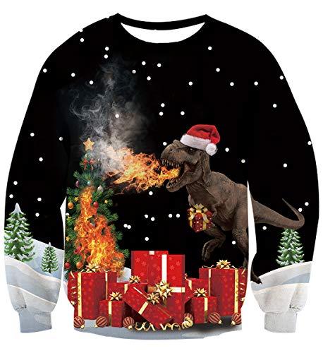 Idgreatim Frauen Lustige 3D Gedruckt Katze Crewneck Langarm Sweatshirts Hässliche Pullover für Weihnachten Schwarz M (Weihnachten Für Pullover Party Hässliche)