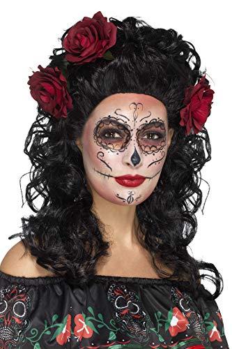 Kostüm Los Damen De Dia Muertos - Smiffys Damen Deluxe Tag der Toten Perücke mit Rosen, One Size, Schwarz, 45061