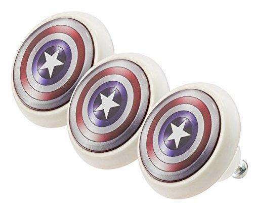 Möbelknopf Set 0188 Kinder Captain America 3er Keramik Porzellan Griffe und Knäufe für Kinder, Kinderzimmer, Schublade, Schrank, Kommode, Küche, Haus, Wohnung