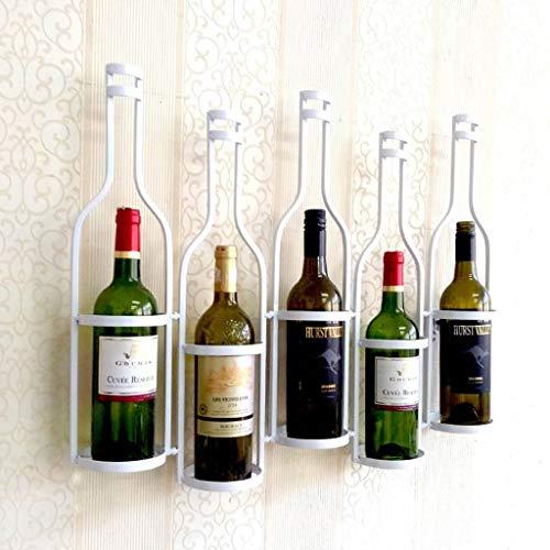 Weinregal Wandbehang Weinglashalter Hängend Hängend Weinregal Wein Schmiedeeisen Weinregal 5 Flaschen (Farbe: Weiß)