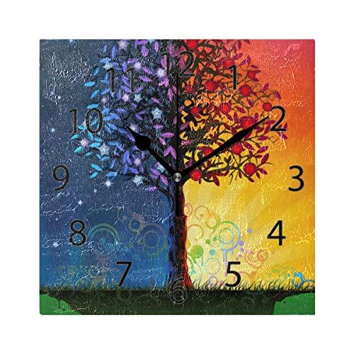XiangHeFu Reloj de Pared, Cuadrado 8x8 Pulgadas Silent Day Night Night Tree Decorativo para la Escuela...
