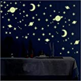 Wall1Ders Green Color Fluorescent Night Glow In The Dark Star Wall Sticker (Pack Of 134 Stars Big And Small)