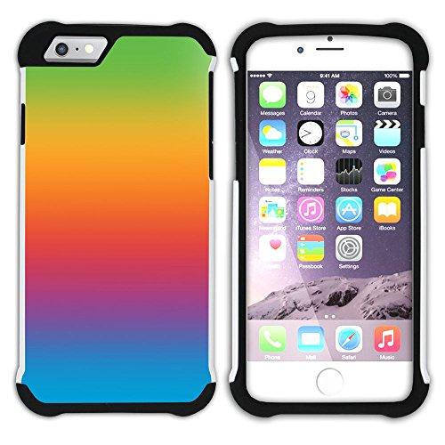Graphic4You Regenbogen Farben Hart + Weiche Kratzfeste Hülle Case Schale Tasche Schutzhülle für Apple iPhone 6 Plus / 6S Plus Design #35