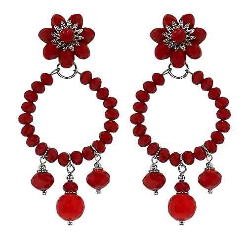 GIPSY 1A - Orecchini fatti a mano con clips, cerchio con 3 pendenti, in cristallo Rosso, nickel free, lunghezza totale cm. 7,5