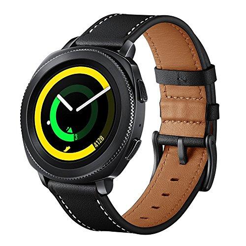 Sundaree Galaxy Watch 42mm/Gear S2 Classic/Gear Sport Correa,20MM Genuina Reemplazo Correa Banda Pulsera Repuesto de Reloj para Samsung Gear Sport R600/Gear S2 Classic R732/Galaxy Watch 42mm(S Black)