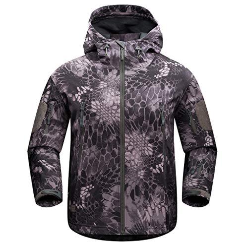 Herren Jack Wasserdicht Outdoor Funktionsjacke mit Camouflage Druck,Männer Softshell Fleecejacke Winterjacke Regenjacke XS-3XL