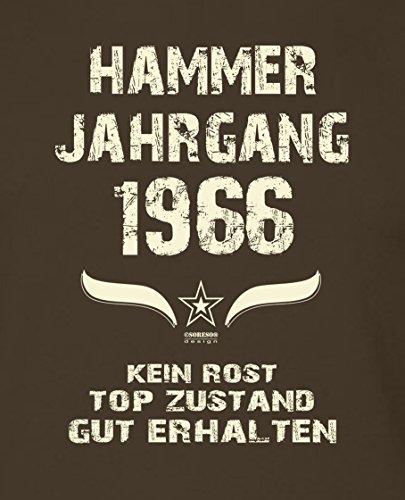 Geschenk zum 51. Geburtstag : Hammer Jahrgang 1966 : Geschenkidee Geburtstagsgeschenk für Ihn - Herren Männer Kurzarm T-Shirt Geschenkset auch in Übergrößen Farbe: braun Braun