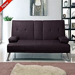 Cinema style futon sofabed with drinks table sofa bed by for Sofa bed amazon uk