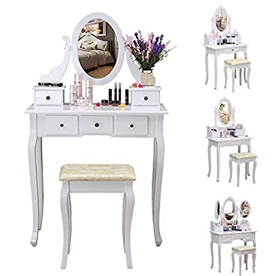 Sungle® White Dressing Table with Stool & Adjustable Mirror Set, Bedroom Dresser