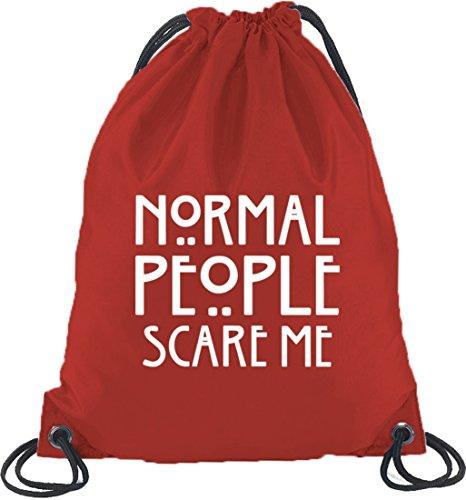Shirtstreet24, AHS - Normal People Scare Me, Turnbeutel Rucksack Sport Beutel Rot