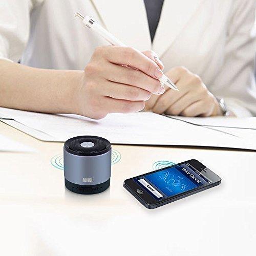 August MS425 – Mobiler Bluetooth v4.0 Lautsprecher mit Mikrofon – Schnurloser Speaker und Freisprecheinrichtung für Smartphones und Handys (silber) - 5