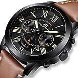Herren Uhren Manner Militär Sport Wasserdicht Chronograph Designer Leuchtende Leder Armbanduhr Mann Business Mode Kalender Analog Uhr