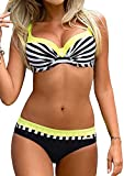 UMIPUBO Bikini-Sets Damen Low-Waist Bikini Push-up Badeanzüge Sexy Beachwear Zwei Stück Sexy Bademode Strand Swimwear Swimsuits (M, Gelber Streifen)