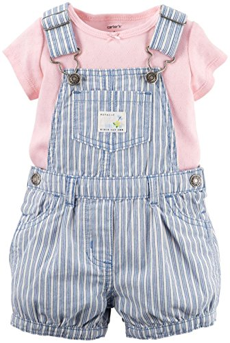 Carter's 56/62 Latzhose Shorts rosa Jeans T-Shirt gestreift Baby US SIZE 3 month
