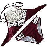 Push up BH Extrem für Kleine brüste 70a Ohne träger Breite hüfte Bikini Set Neckholder BK542 (M, Weinrot)