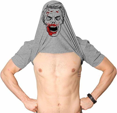 Nerd Kostüm Guy - Crazy Dog Tshirts - Mens Ask Me Why I Like Brains Tshirt Funny Halloween Zombie Face Flip Up Tee (Heather Grey) - XXL - Herren - XXL