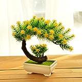 LVLIDAN Kunstblumen real touch künstliche Blume Pflanzen Bonsai Zimmerpflanzen Kunststoff Blume lange Kiefer gelb