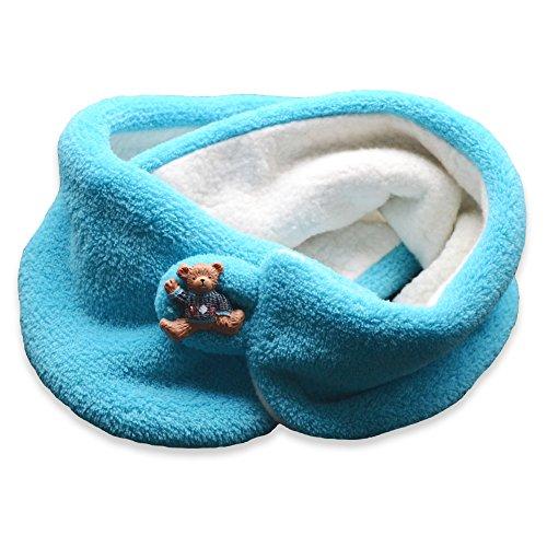 Fleeceschal mit Knopf türkis, Kinderschal, Fleece Schal, Loop, Mädchenschal, Jungenschal (Schal Knopf 1)