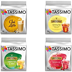 Tassimo Tea Elite Set: 4 Sorten, Earl Grey, Grüner Tee, Forest Fruit, Chai Latte, Kapsel, T-Discs
