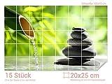 Graz Design 761739_20x25_70 Fliesenaufkleber Steine - Bambus für Kacheln | Bad-Fliesen mit Fliesenbildern überkleben (Fliesenmaß: 20x25cm (BxH)//Bild: 105x70cm (BxH))