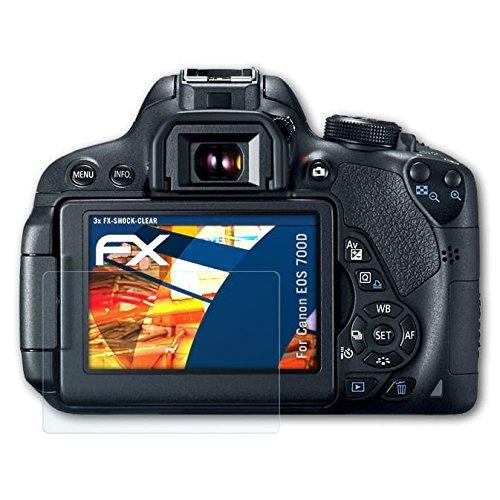 atFoliX Schutzfolie kompatibel mit Canon EOS 700D / Rebel T5i Panzerfolie, ultraklare und stoßdämpfende FX Folie (3X)