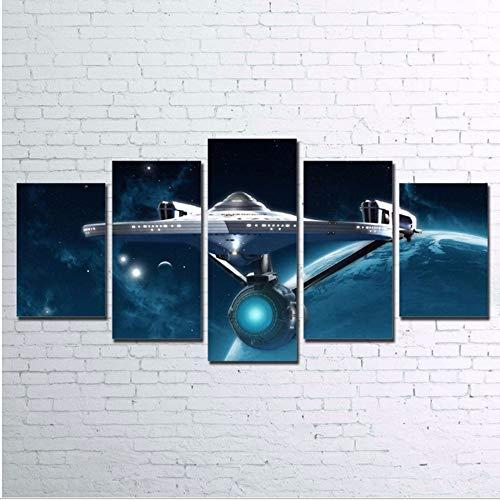 hhlwl Bilder Wandkunst Stil Rahmen Wohnzimmer HD Gedruckt 5 Stücke Abstrakte Leinwand Malerei Wohnkultur Poster-40x60/80/100cm-no frame