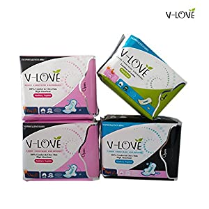 VLOVE Anion Sanitary Napkin Sets 2pack day use + 1pack night use +1panty liner