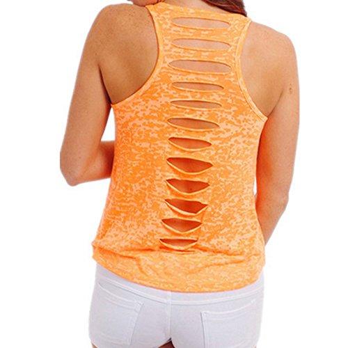 Hrph Fashion New Ladies Hollow Back Sleeveless Bodycon Tank Top Women Sexy T-shirt Solid Vest Tops Orange
