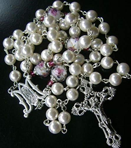 elegantmedical Perlmutt katholischen Rosenkranz & Pink Rose farbige Glasur perlen Italien Kreuz Kruzifix Geschenk-Box
